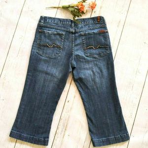 7 For All Mankind Flare Crop Jeans 32x20 Med Wash